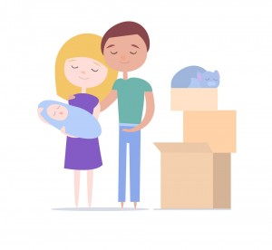Young Family with baby and cat moving into a new house with things. Cartoon illustration in flat style.